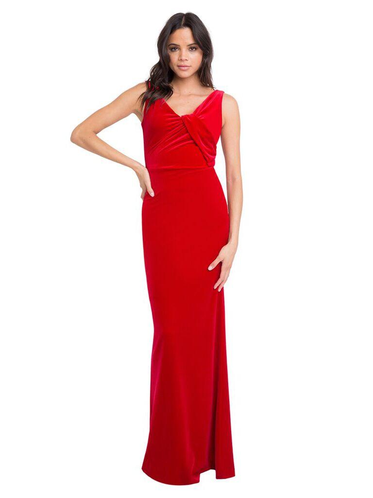 black halo red velvet wedding guest long dress with tie neckline