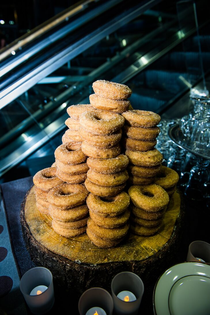 Instead of a traditional tiered cake, the couple opted for layers of donuts.