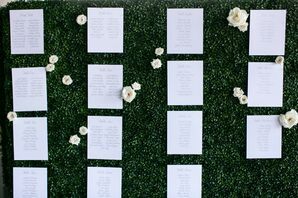 Boxwood Escort Card Display with White Roses