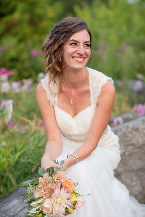 Lace, Cap-Sleeve Wedding Dress