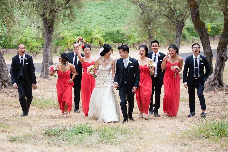Bright Coral Bridesmaid Dresses