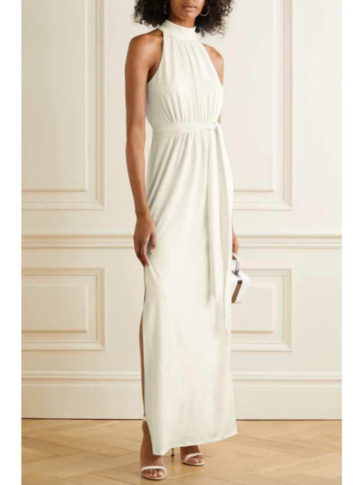 Simple white wedding dress with high collar neckline and slim skirt