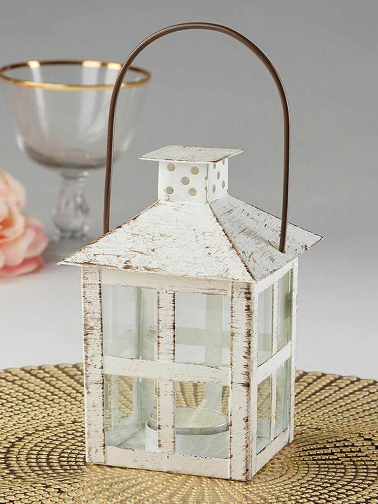 distressed white vintage lantern