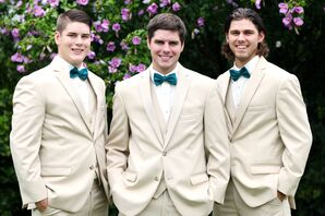 Khaki Groomsmen Suits and Teal Bow Ties
