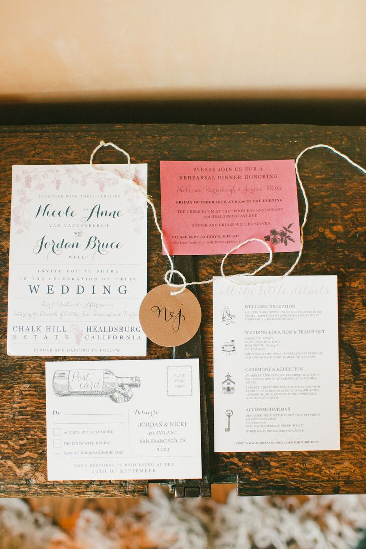 To set the tone for the romantic vineyard celebration to come, Nicki and Jordan incorporated winery-inspired elements into the design of their invitations, including illustrations of wine bottles, grapes and vines.