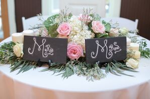 Romantic Sweetheart Table 'Mr.' and 'Mrs.' Signs