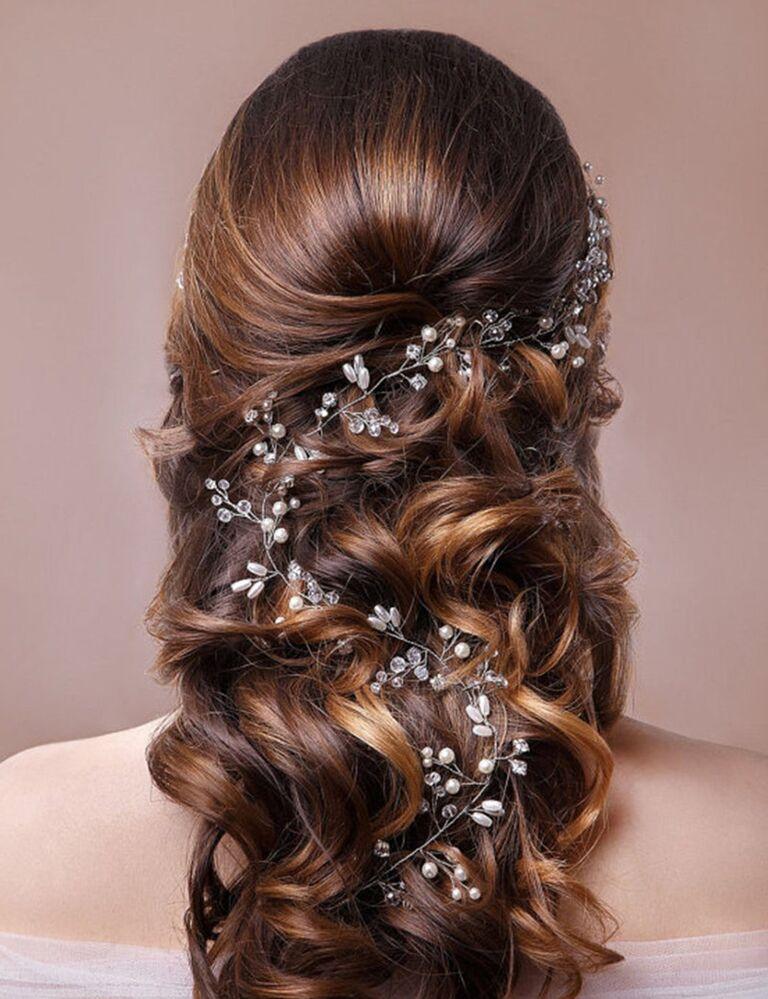 Silver bridal pearl hair vine