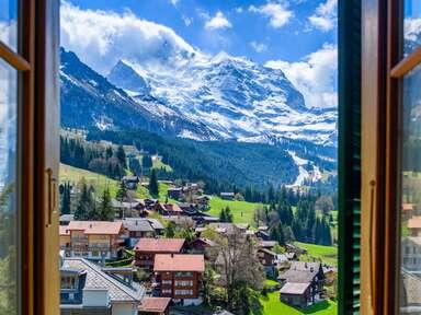 Jungfrau through the Window / Wengen in Switzerland