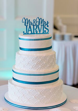Textured Turquoise-Accented Wedding Cake