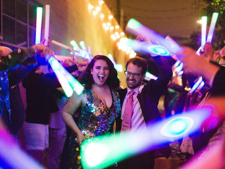 Glow sticks for wedding send-off