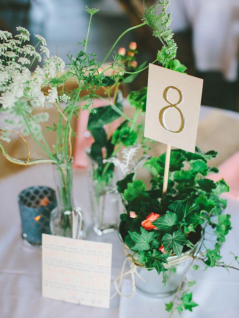 DIY wedding reception table numbers