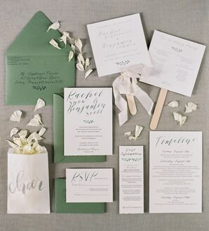 Classic Invitation Suite with Calligraphy and Preppy Green Envelopes