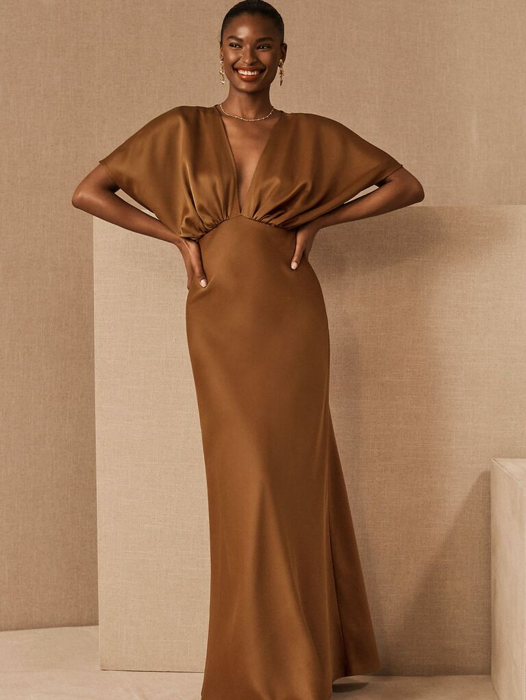 Neutral satin silk fall wedding guest dress with peasant sleeves