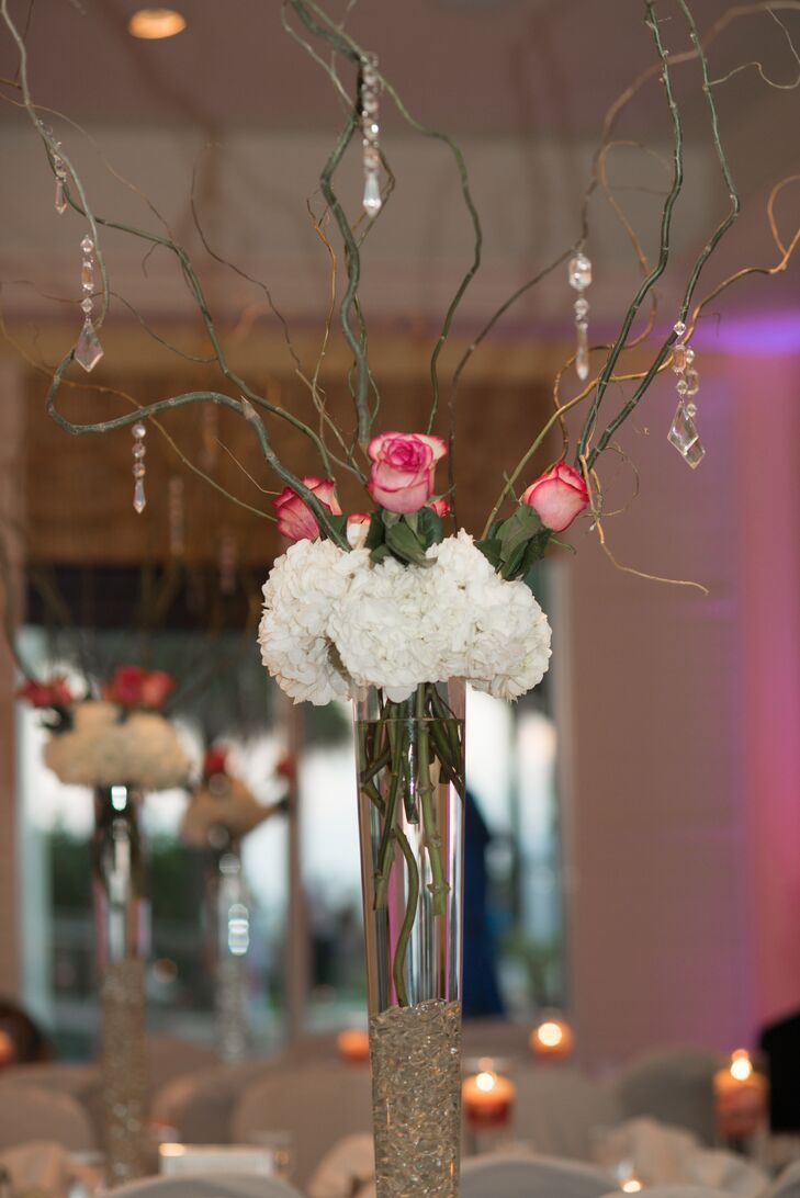 Rose and Hydrangea Centerpiece with Green Branches