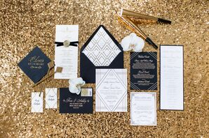 Formal, Gatsby-inspired Paper Goods and Cocktail Accents