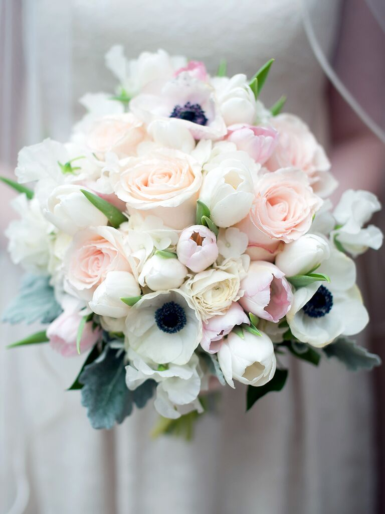 Rose and tulip wedding bouquet ideas