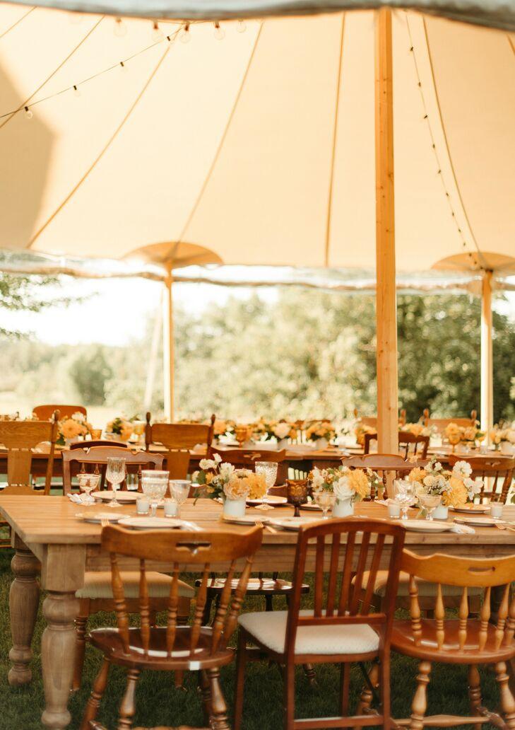 Romantic Golden Hour Wedding Reception Underneath Sailcloth Tent