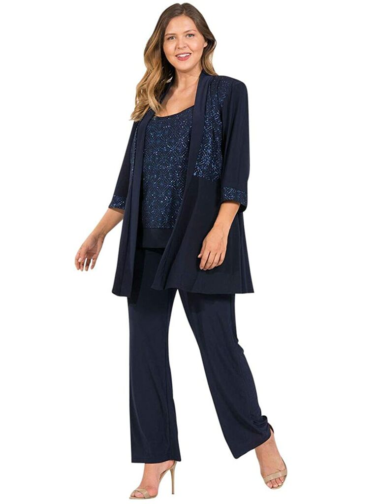 amazon navy three piece mother of the bride pant suit with glitter