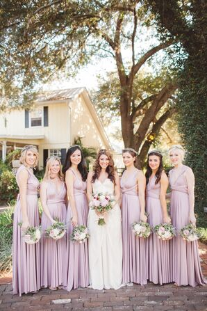 Sleeveless Empire Waist Mauve Bridesmaids Dresses