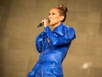 Celine Dion performs on stage at Hyde Park, London, England
