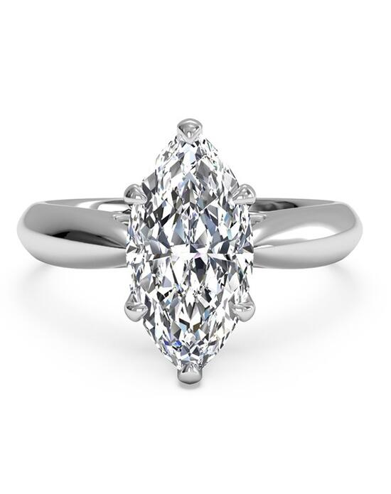Ritani Solitaire Diamond Cathedral Tapered Engagement Ring - in 14kt White Gold for a Marquise Center Stone Engagement Ring photo