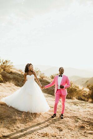 Desert Wedding with Ballgown and Pink Suit Attire