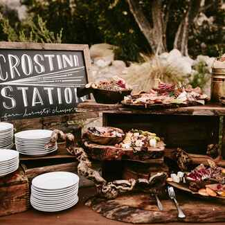 Crostini food station at wedding reception