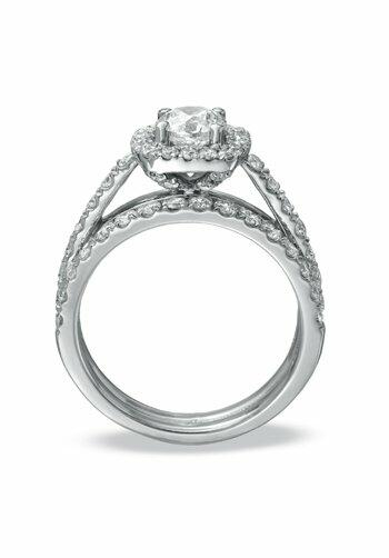 Zales 2 CT T W Diamond Frame Bridal Set in 14K White Gold Engageme
