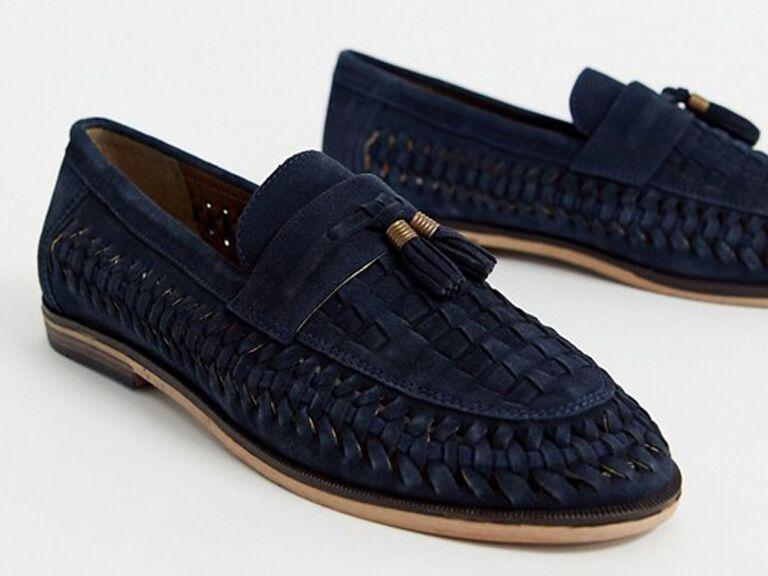 Woven men's beach wedding shoes
