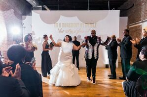 Modern Recessional in Trumpet Dress and Hip-Hop Suit Jacket
