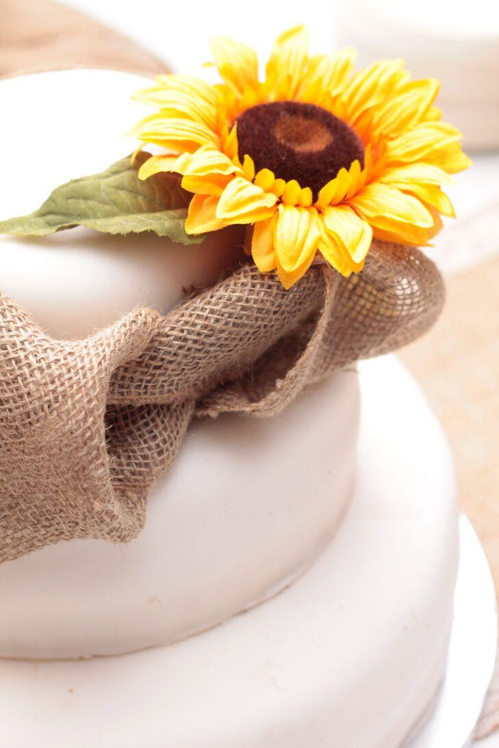 Wedding Cake With Sunflower and Burlap