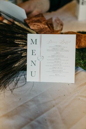 Menu Card for Reception at Turner Hall in Milwaukee, Wisconsin