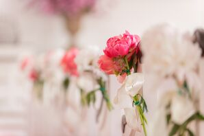 Pink Peony Aisle Arrangements