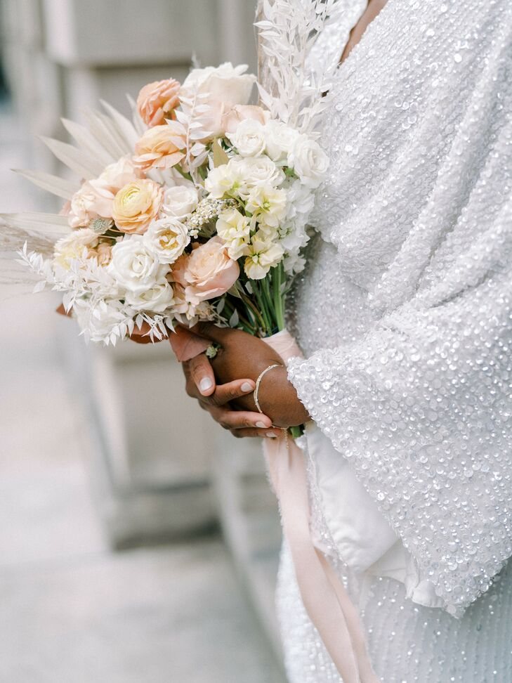 Orange-and-White Bouquet for Elopement at Anderson House in Washington, D.C.