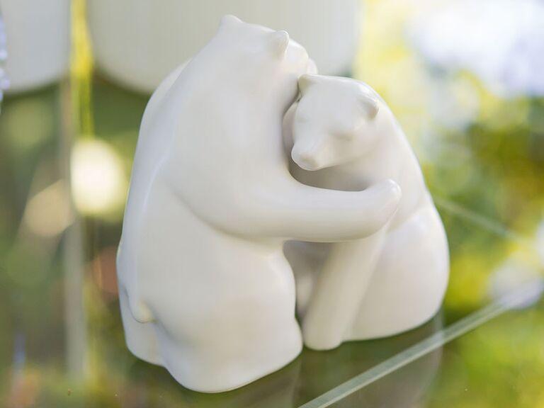 White porcelain bears hugging