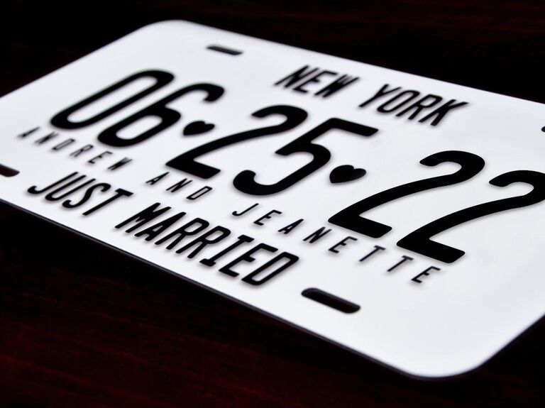 Just married license plate for wedding car