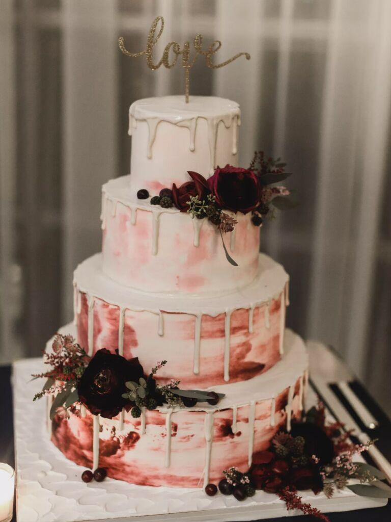 winter wedding ideas watercolor cake