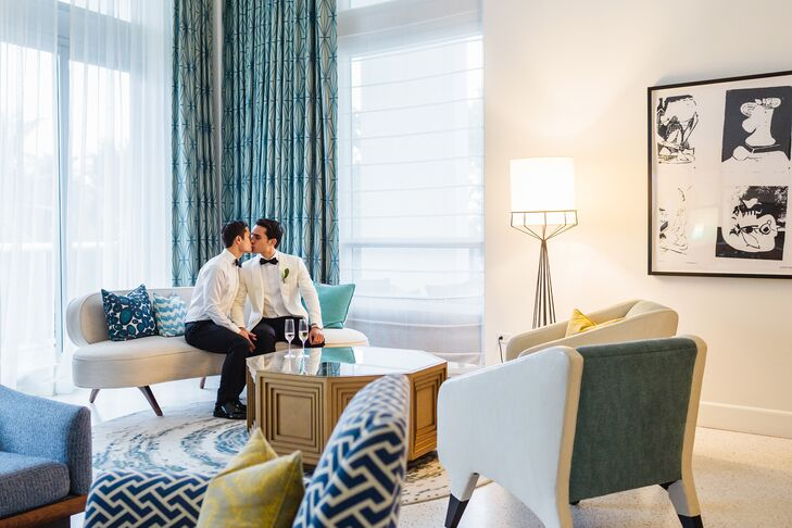 """""""The interior of the hotel is a throwback heyday of Miami Beach in the 1940s and '50s, and we wanted our wedding to complement that aesthetic,"""" Wes says. """"Since we are two men, we wanted the overall style to be masculine, clean and classic."""""""