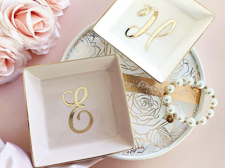 Monogram ring dish bridesmaid gift idea