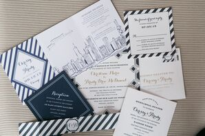 Navy and White Chicago-Inspired Invitation Suite