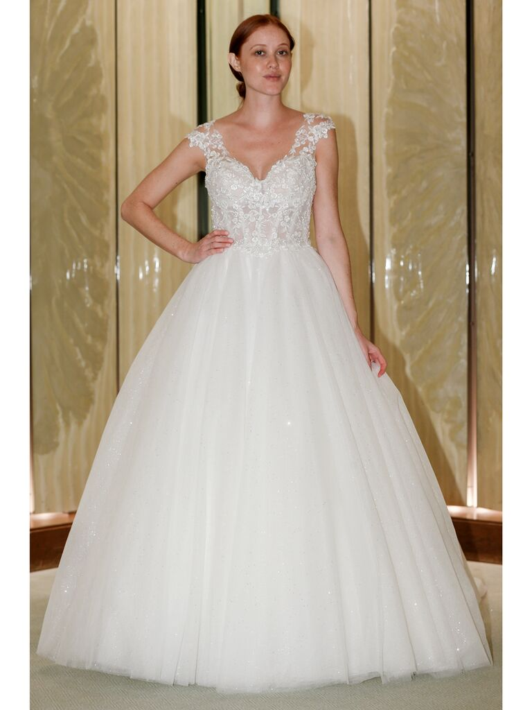 Randy Fenoli Fall 2019 Bridal Collection sparkly tulle ball gown with lace shoulder details