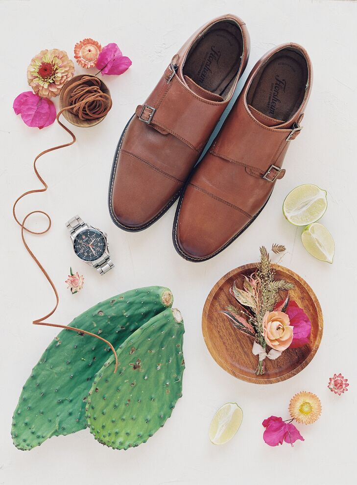 Groom Wedding Accessories Styled with Cacti and Bright Blooms