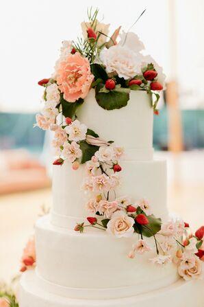 Tiered Wedding Cake Sugar Flowers and Strawberries