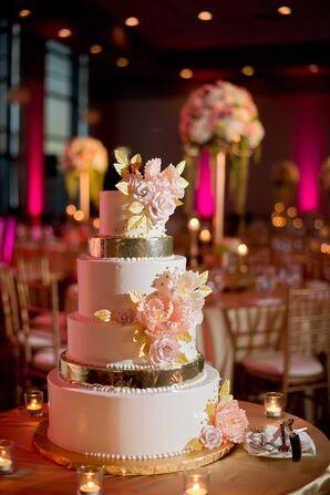 Gold Leaf and Sugar Flower Cake