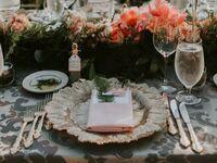 Elegant table set with menu card in blush napkin