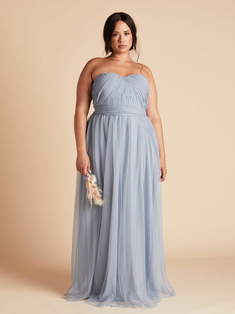 long bridesmaid dress with convertible straps in dusty blue