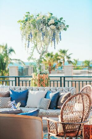 Tropical Blue and White Lounge Furniture and Tree Installation