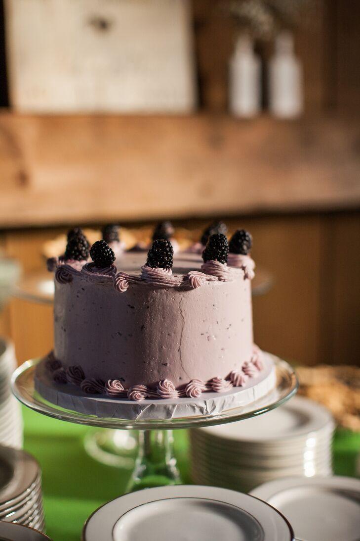 Small, Round Blackberry Wedding Cake