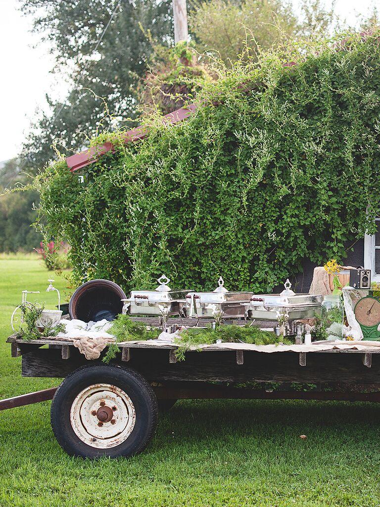 Rustic wagon dinner buffet idea for wedding reception food