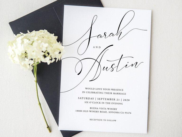 Elegant script black and white affordable wedding invitation